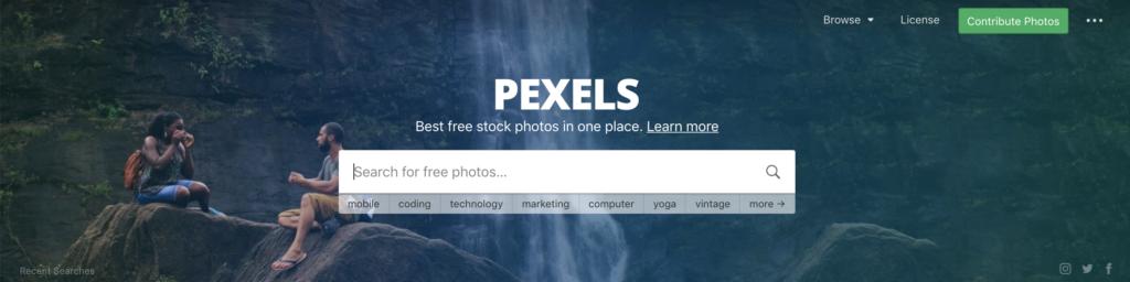 PEXELSトップページ画像